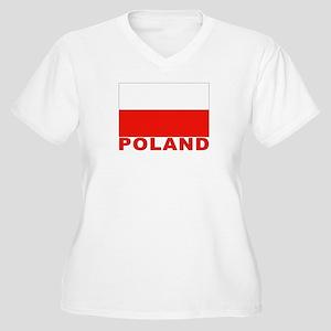 Poland Flag Women's Plus Size V-Neck T-Shirt