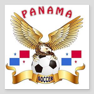 "Panama Football Designs Square Car Magnet 3"" x 3"""