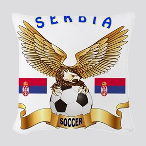 Serbia Football Designs Woven Throw Pillow