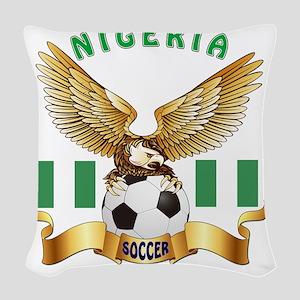 Nigeria Football Designs Woven Throw Pillow