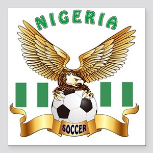 "Nigeria Football Designs Square Car Magnet 3"" x 3"""