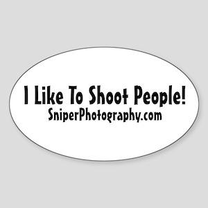 I like to shoot people Oval Sticker