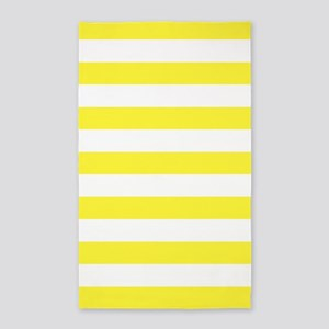 Lemon Yellow And White Stripe 3'X5' Area Rug