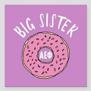 "Alpha Epsilon Phi Big Do Square Car Magnet 3"" x 3"""