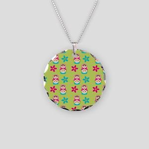 Matryoshka Duvet Cover Necklace Circle Charm
