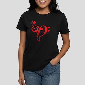 I love music, red heart with  Women's Dark T-Shirt