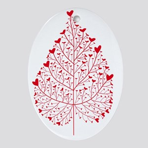 red heart leaf Oval Ornament