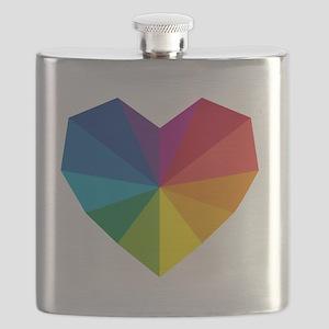 colorful geometric heart Flask