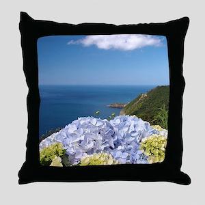 Hydrangeas on blue Throw Pillow