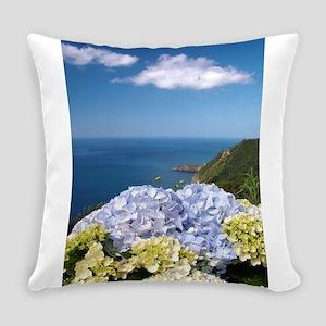 Hydrangeas on blue Everyday Pillow