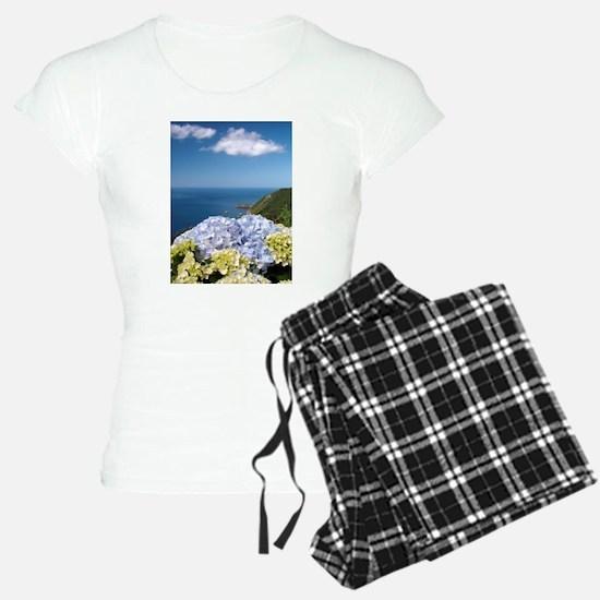 Hydrangeas on blue Pajamas
