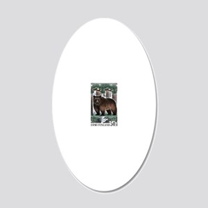 1989 Finland Brown Bear Post 20x12 Oval Wall Decal