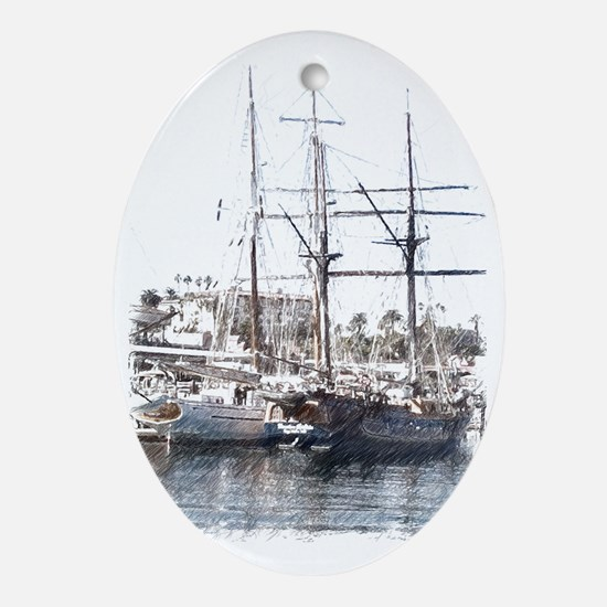 Tall Ships in San Pedro CA  Oval Ornament