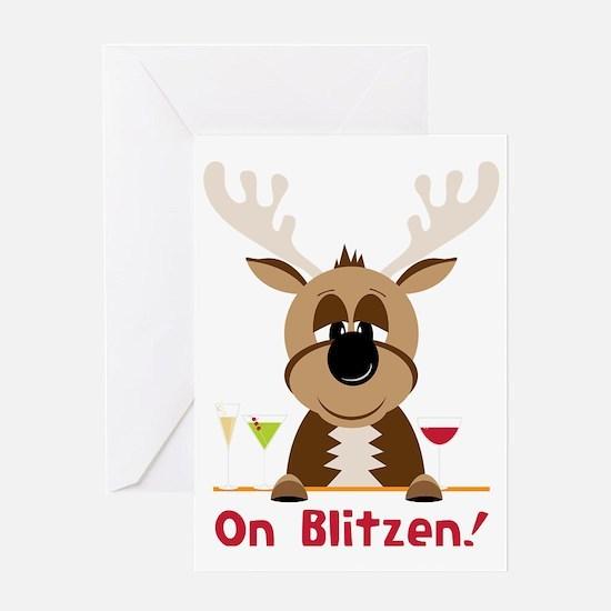 On Blitzen! Greeting Card