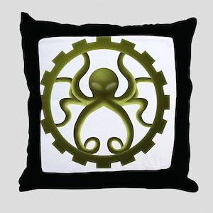 octo-gear (green) Throw Pillow