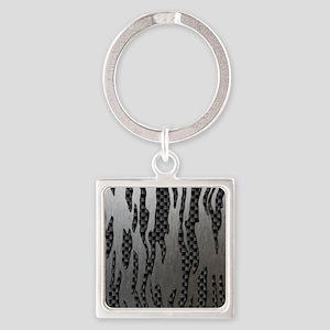 Carbon Aluminum Tiger Stripes Square Keychain