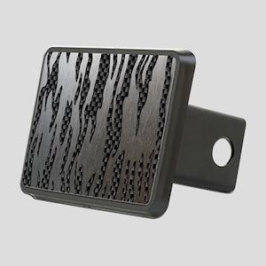 Carbon Aluminum Tiger Stri Rectangular Hitch Cover