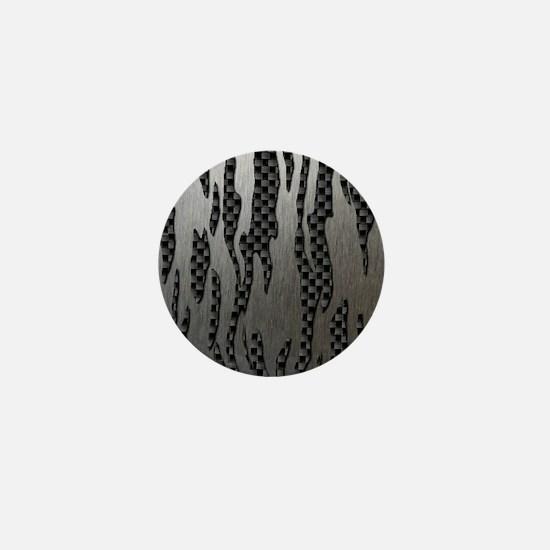 Carbon Aluminum Tiger Stripes Mini Button