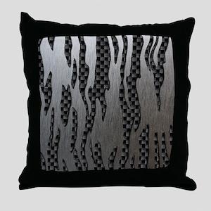Carbon Aluminum Tiger Stripes Throw Pillow