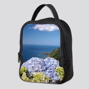 Hydrangeas on blue Neoprene Lunch Bag