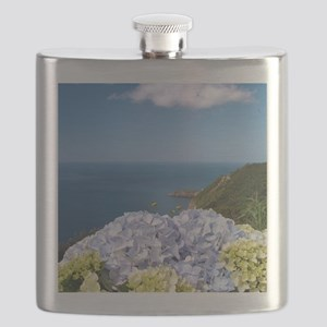 Hydrangeas on blue Flask
