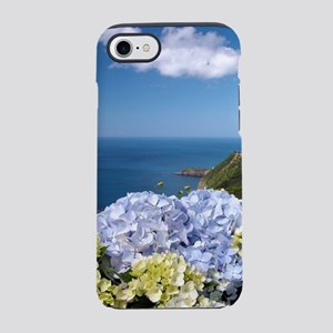 Hydrangeas on blue iPhone 7 Tough Case