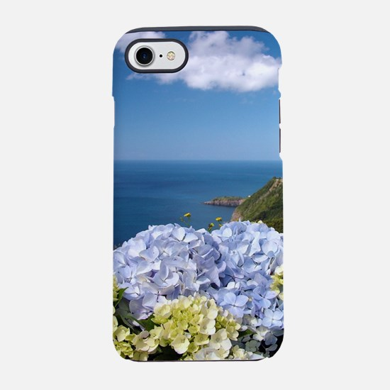 Hydrangeas on blue iPhone 7 Tough Case
