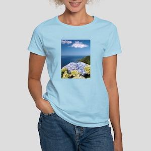 Hydrangeas on blue T-Shirt