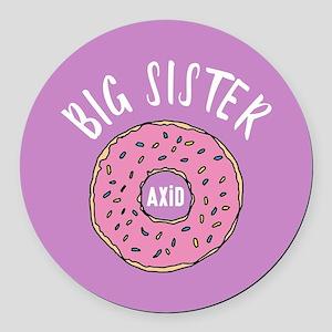 Alpha Xi Delta Big Donut Round Car Magnet