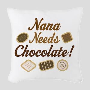 Nana Chocolate Woven Throw Pillow