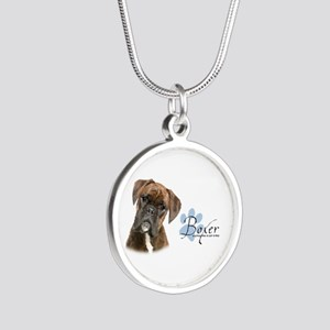 Boxer Puppy Silver Round Necklace