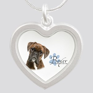 Boxer Puppy Silver Heart Necklace