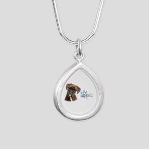 Boxer Puppy Silver Teardrop Necklace