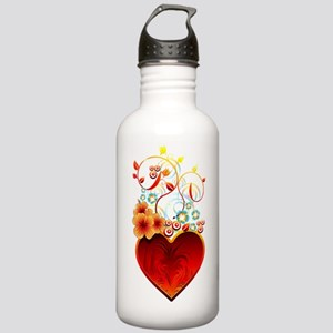 Valentine Floral Heart Stainless Water Bottle 1.0L