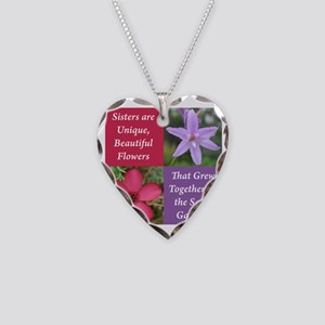 Sisters from the Same Garden  Necklace Heart Charm