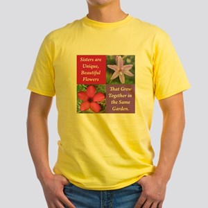 Sisters from the Same Garden Design Yellow T-Shirt