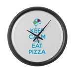 Keep Calm and Eat Pizza 1 Large Wall Clock