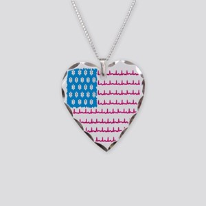EMS flag Necklace Heart Charm