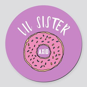 Alpha Xi Delta Little Donut Round Car Magnet
