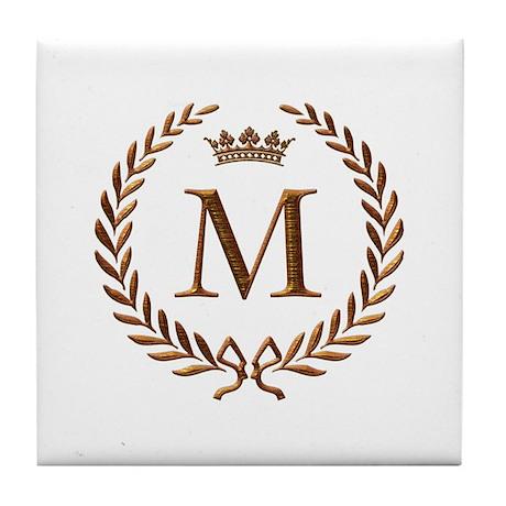 Napoleon Initial Letter M Monogram Tile Coaster By Jackthelads