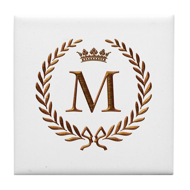 Napoleon Initial Letter M Monogram Tile Coaster By Jackthelads