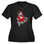 GirlBot Women's Plus Size V-Neck Dark T-Shirt