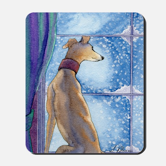 Greyhound watching snow fall Mousepad