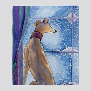 Greyhound watching snow fall Throw Blanket