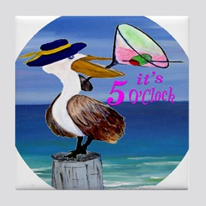 Its 5 OClock Martini Pelican Tile Coaster