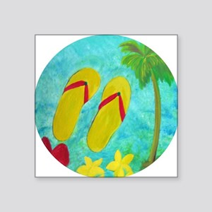 fb881559d19e Flip Flop Licesne Plate Square Stickers - CafePress