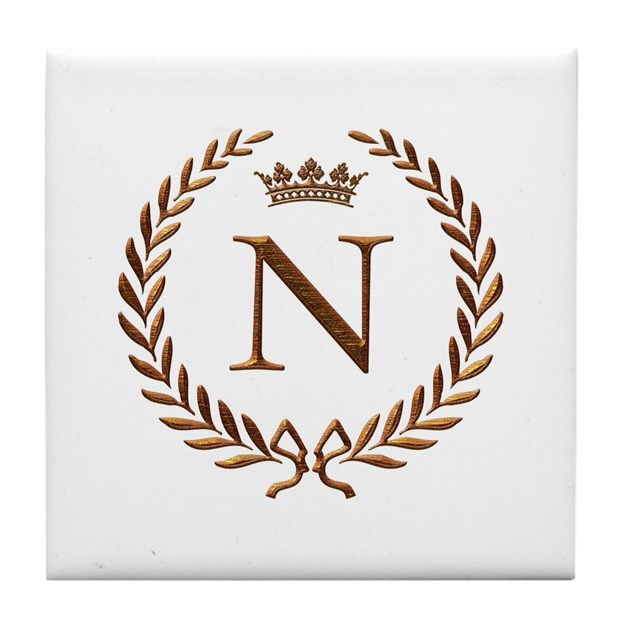 Napoleon Initial Letter N Monogram Tile Coaster By Jackthelads