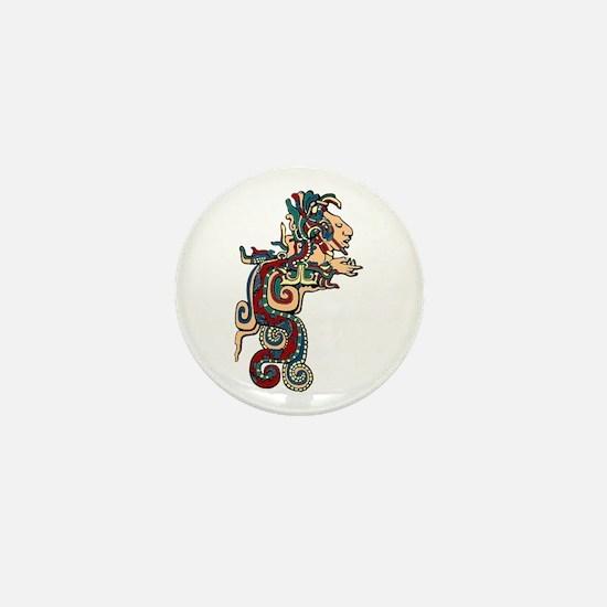 Mesoamerican Feathered Serpent Mini Button