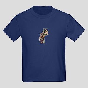 Mesoamerican Feathered Serpent Kids Dark T-Shirt