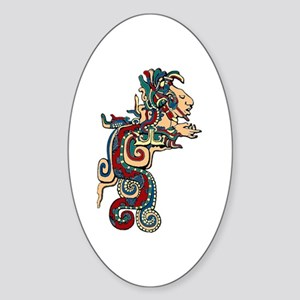 Mesoamerican Feathered Serpent Oval Sticker